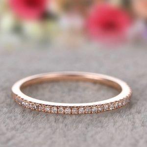 Crystal Pave Half Eternity Band 18K Rose GP Ring